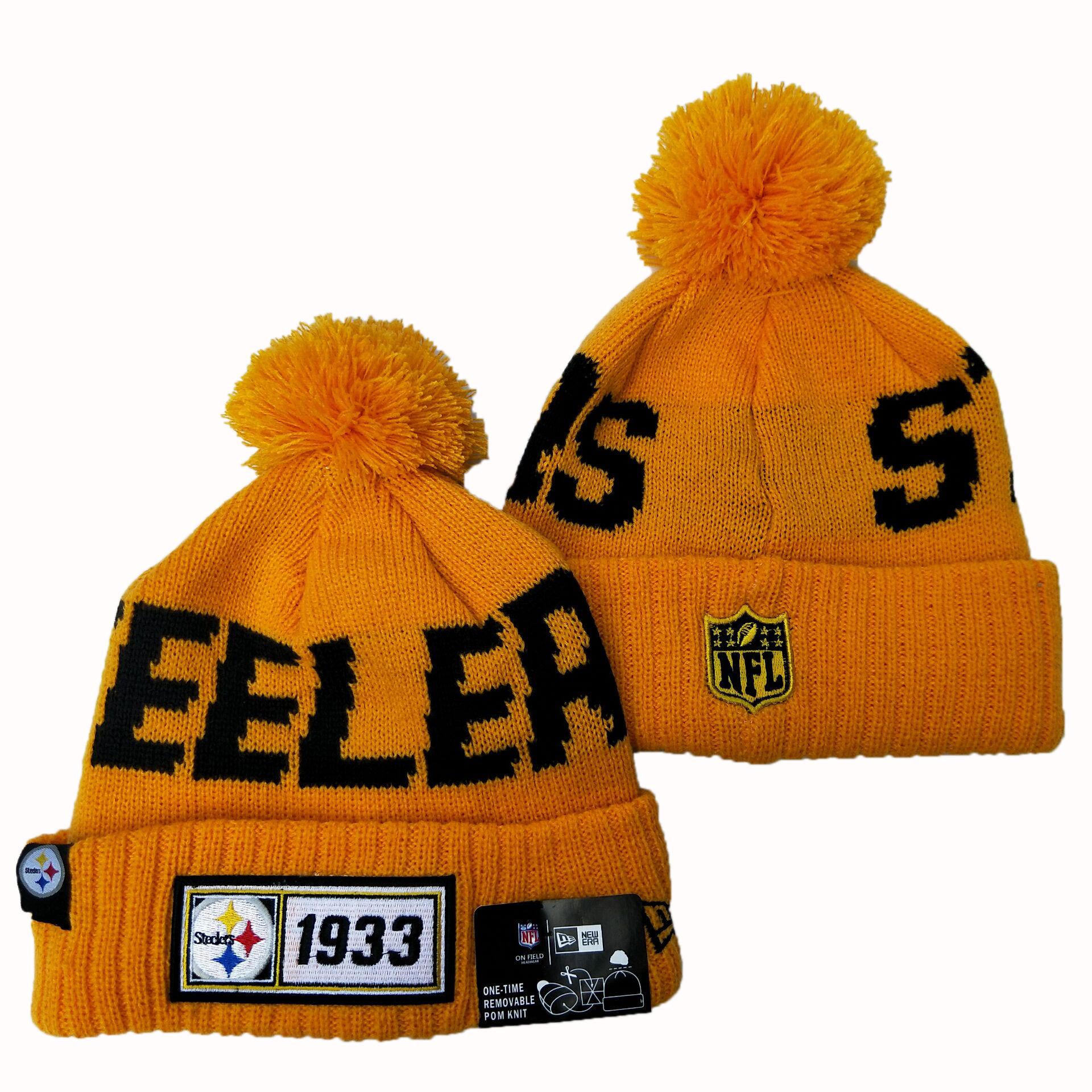 Steelers Team Logo Yellow Pom Knit Hat YD