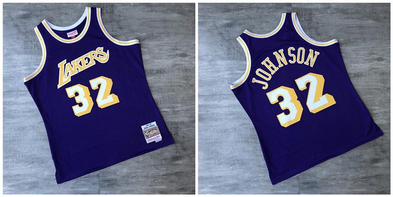 Lakers 32 Magic Johnson Purple 1984-1985 Hardwood Classics Printed Jersey