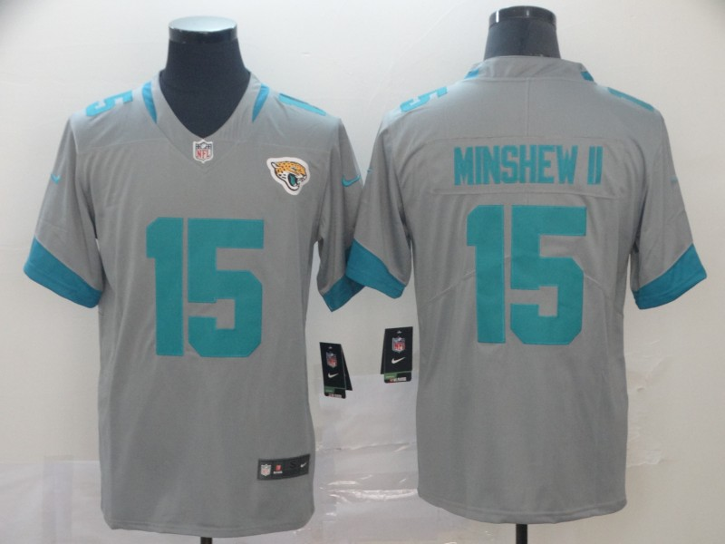 Nike Jaguars 15 Gardner Minshew II Gray Inverted Legend Limited Jersey