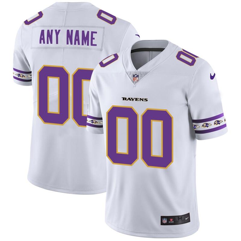 Nike Ravens White Men's Customized 2019 New Vapor Untouchable Limited Jersey