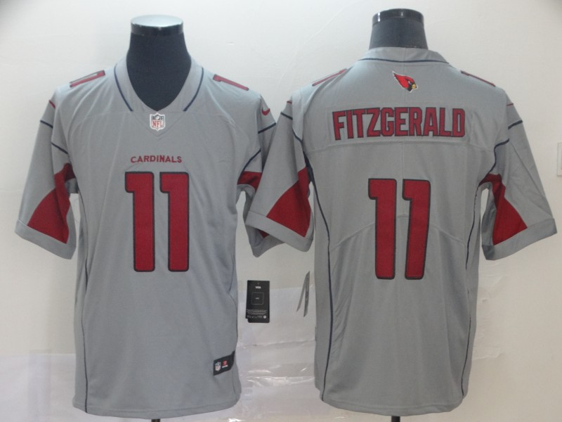 Nike Cardinals 11 Larry Fitzgerald Silver Inverted Legend Jersey