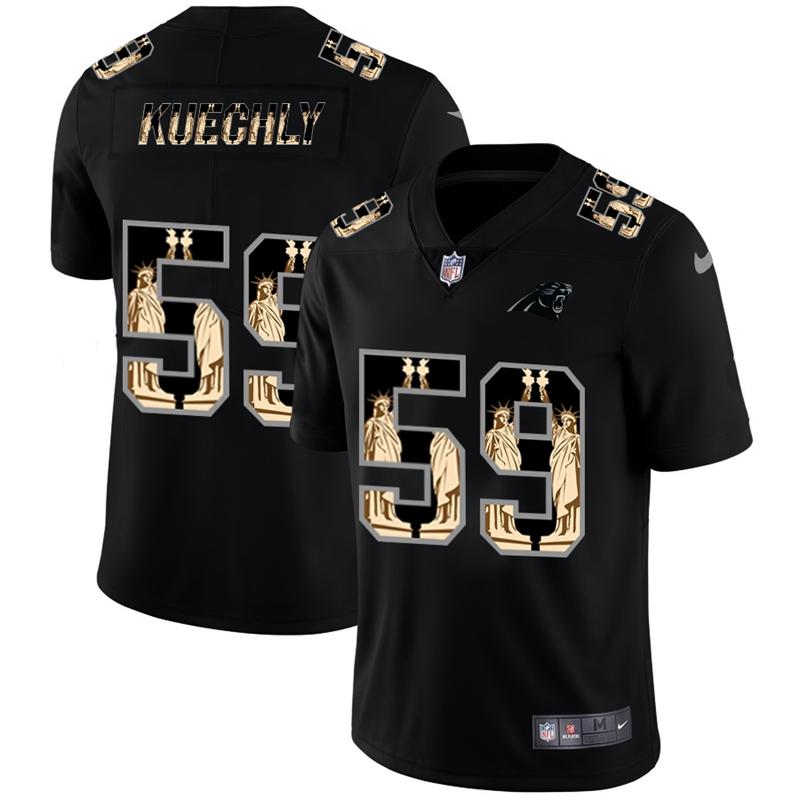 Nike Panthers 59 Luke Kuechly Black Statue of Liberty Limited Jersey