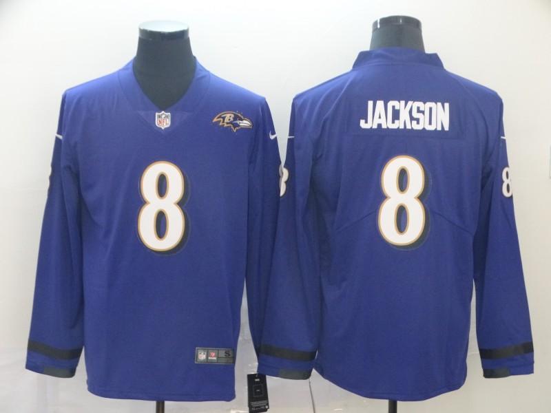 Nike Ravens 8 Lamar Jackson Purple Therma Long Sleeve Jersey