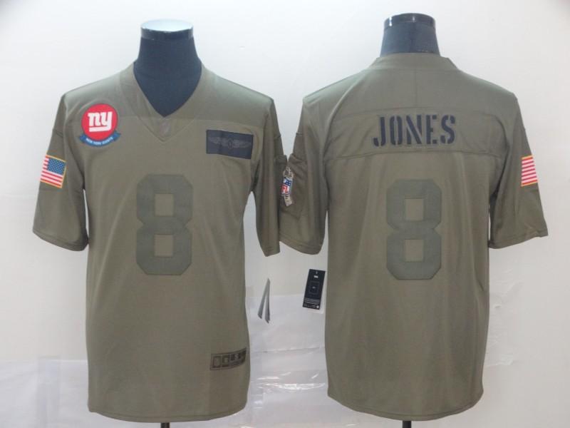 Nike Giants 8 Daniel Jones 2019 Olive Salute To Service Limited Jersey