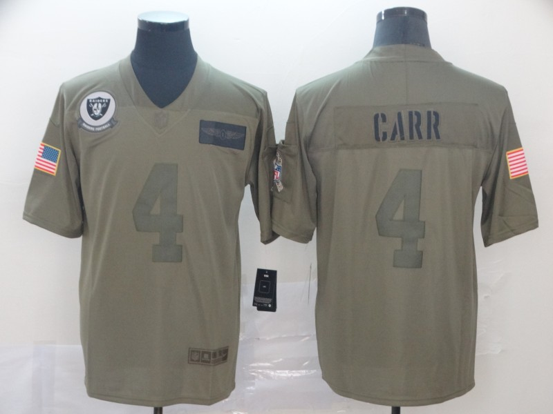 Nike Raiders 4 Derek Carr 2019 Olive Salute To Service Limited Jersey