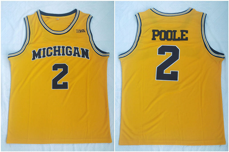 Michigan Wolverines 2 Jordan Poole Yellow College Football Jersey