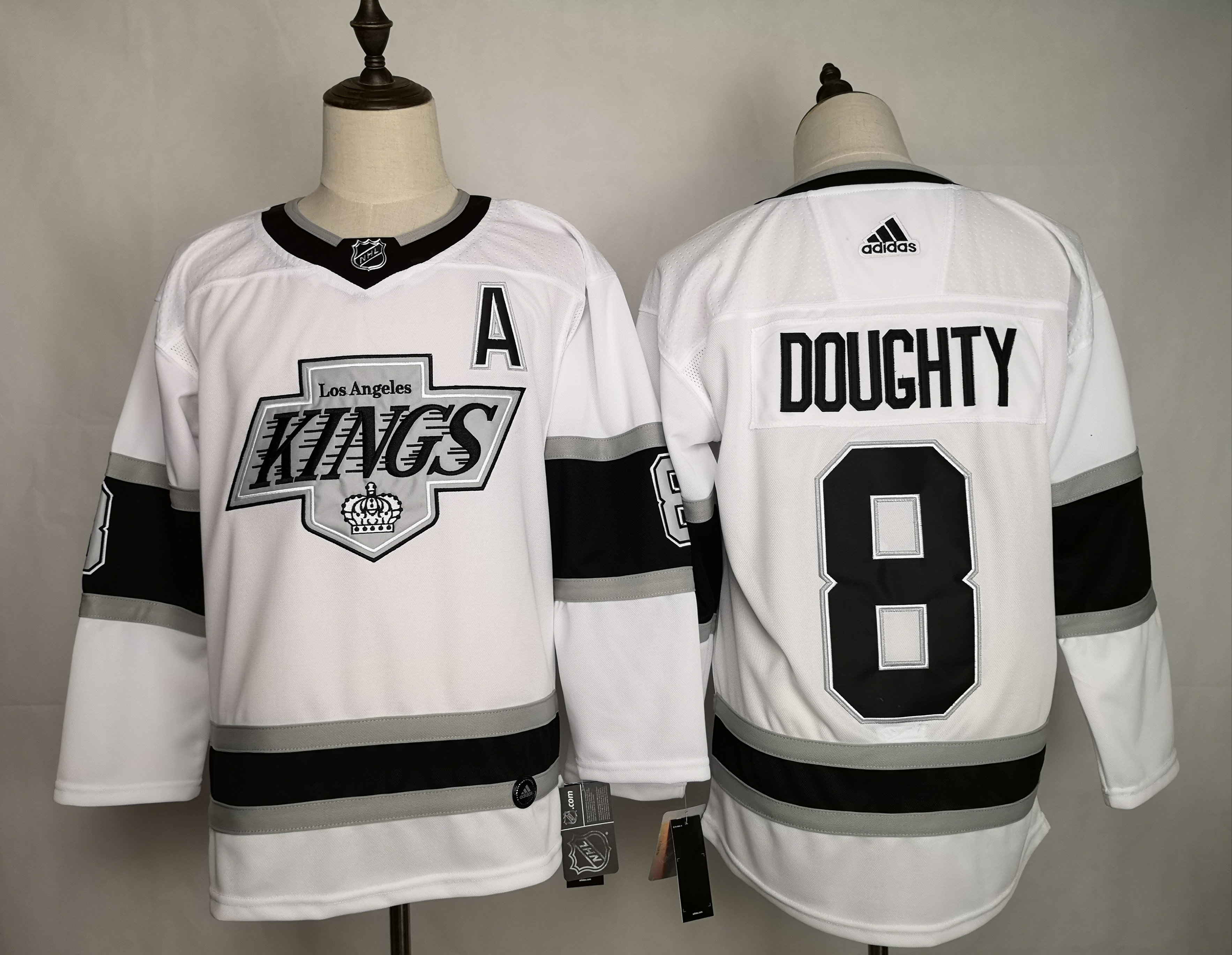 Kings 8 Drew Doughty White Adidas Jersey