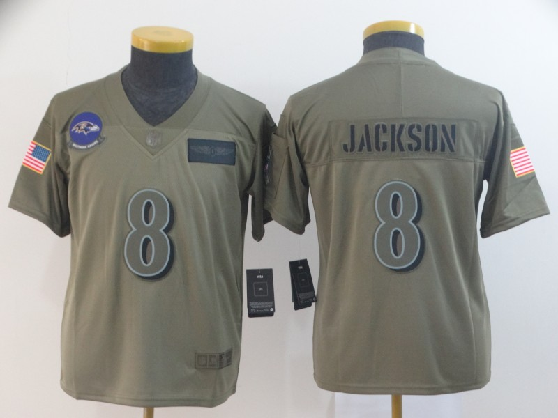 Nike Ravens 8 Lamar Jackson 2019 Olive Youth Salute To Service Limited Jersey