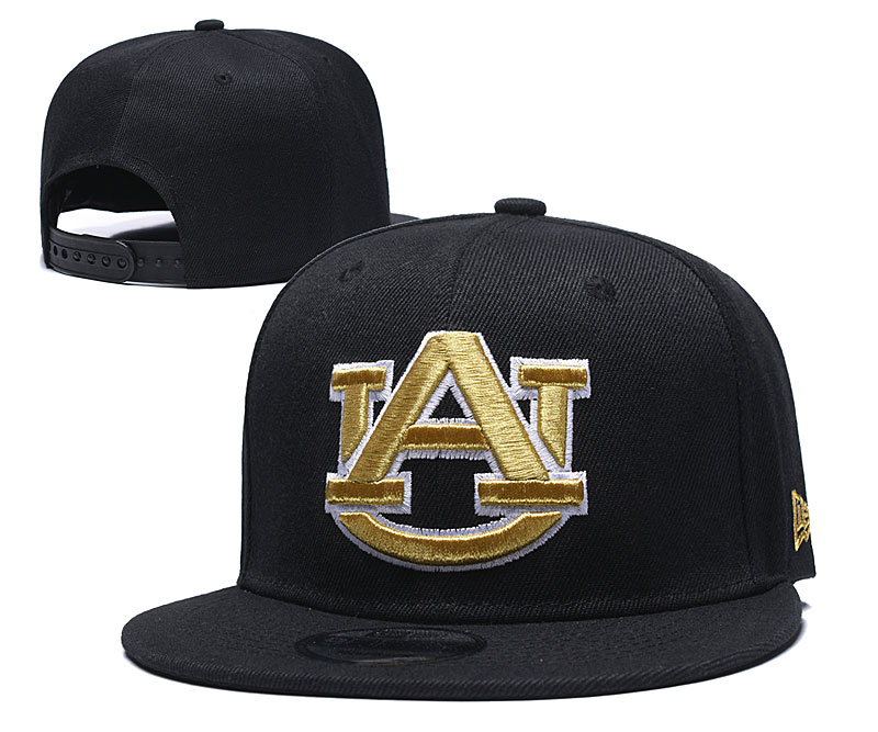 Auburn Tigers Team Sliver Logo Black Yellow Adjustable Hat GS