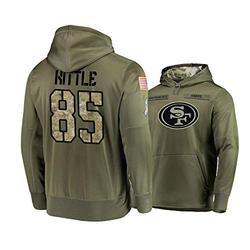 Nike 49ers 85 George Kittle 2019 Salute To Service Stitched Hooded Sweatshirt