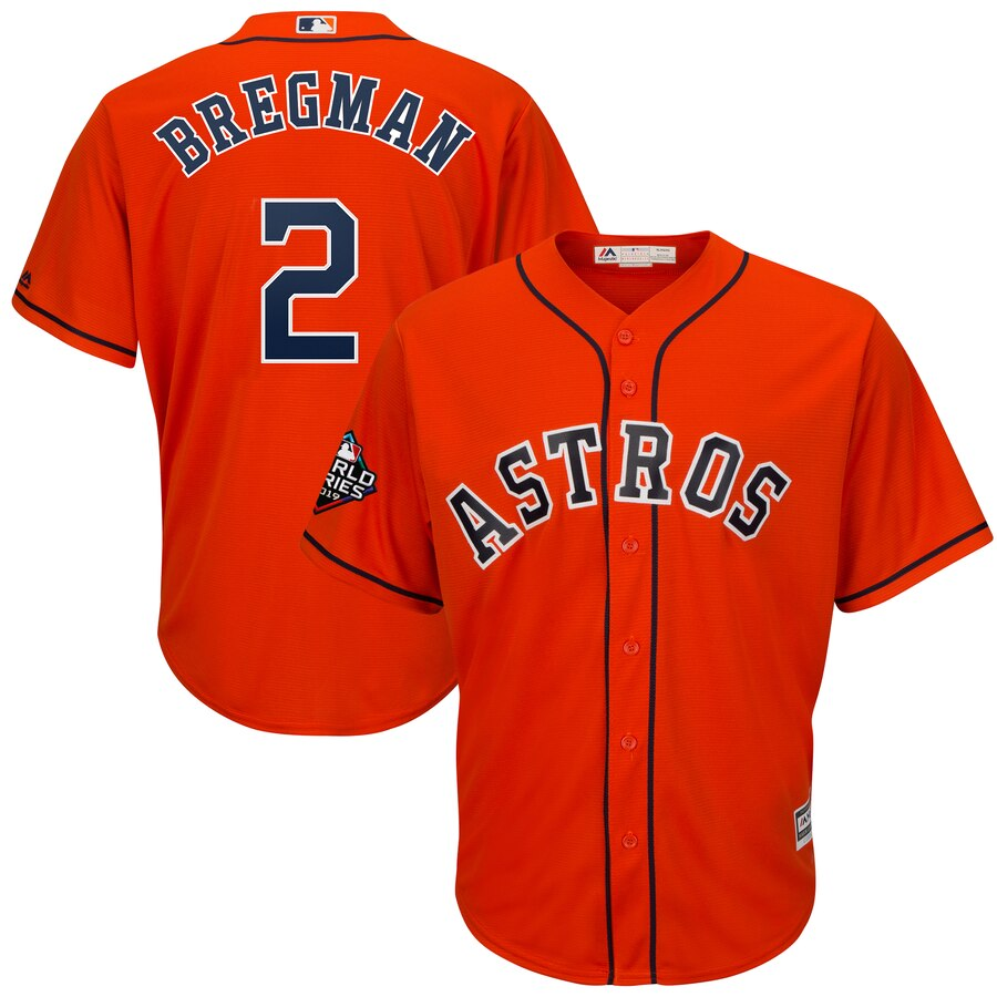Astros 2 Alex Bregman Orange 2019 World Series Bound Cool Base Jersey