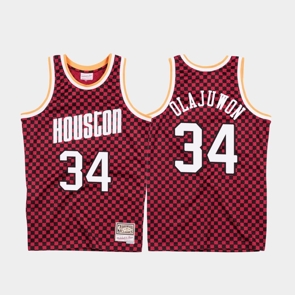 Rockets 34 Hakeem Olajuwon Red Checkerboard Hardwood Classics Jersey