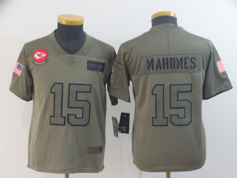 Nike Chiefs 15 Patrick Mahomes 2019 Olive Youth Salute To Service Limited Jersey