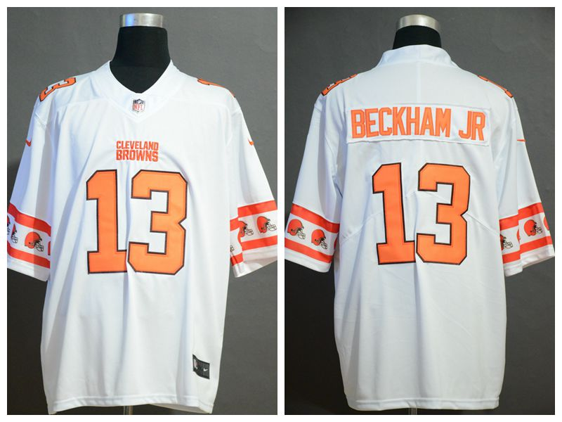 Nike Browns 13 Odell Beckham Jr. White Team Logos Fashion Vapor Limited Jersey