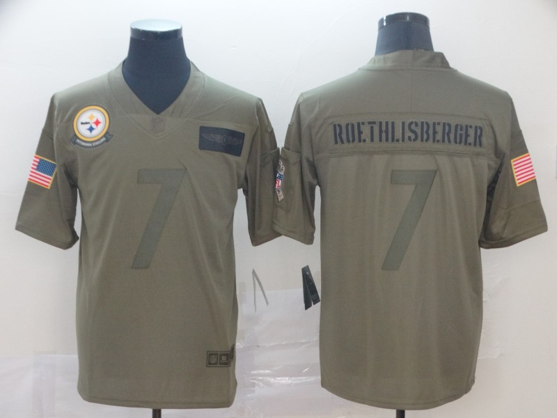 Nike Steelers 7 Ben Roethlisberger 2019 Olive Salute To Service Limited Jersey