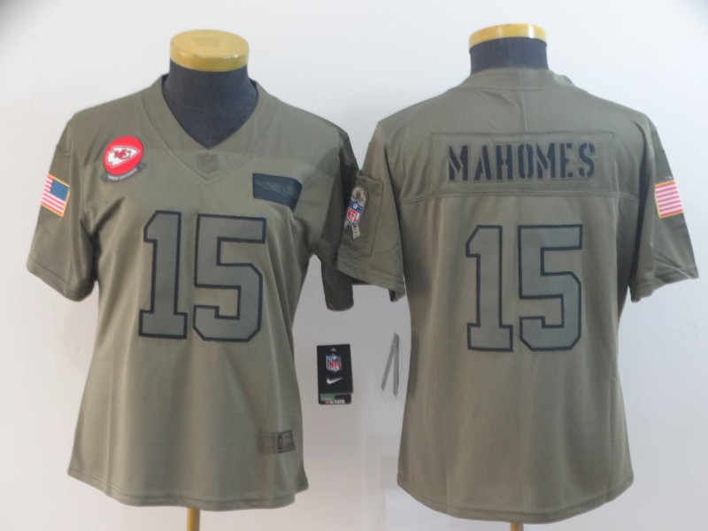 Nike Chiefs 15 Patrick Mahomes 2019 Olive Women Salute To Service Limited Jersey