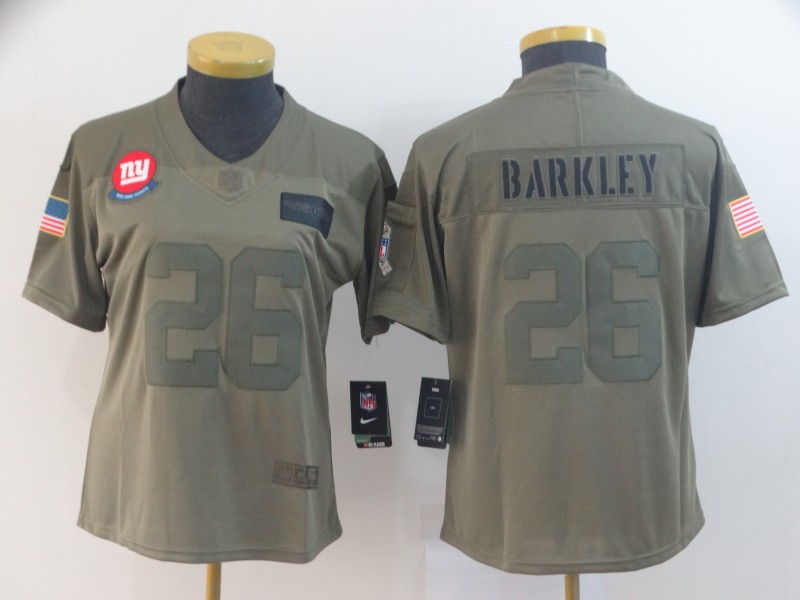 Nike Giants 26 Saquon Barkley 2019 Olive Women Salute To Service Limited Jersey