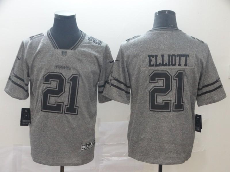 Nike Cowboys 21 Ezekiel Elliott Gray Gridiron Gray Vapor Untouchable Limited Jersey