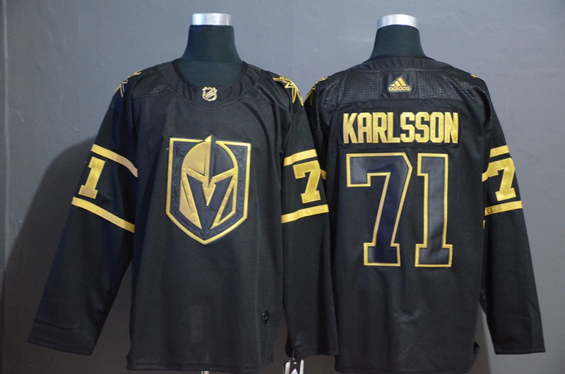 Vegas Golden Knights 71 William Karlsson Black With Special Glittery Logo Adidas Jersey