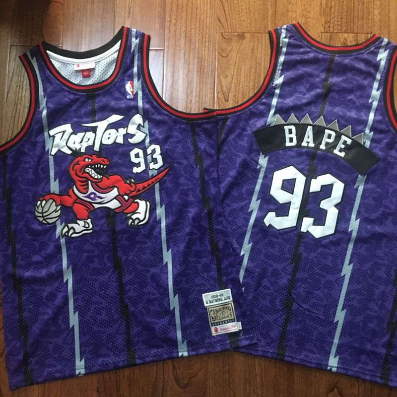 Raptors 93 Bape Purple 1998-99 Hardwood Classics Jersey