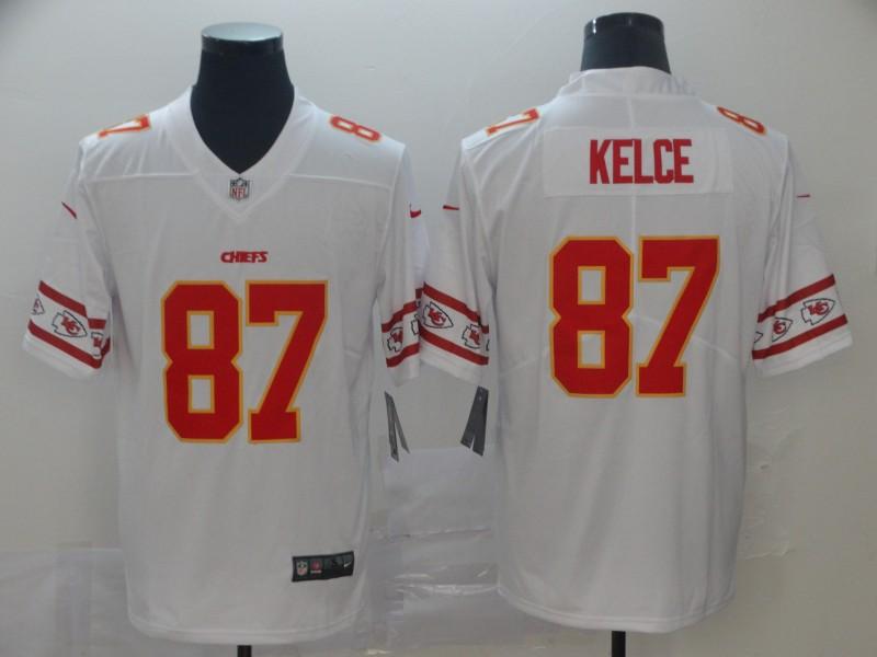 Nike Chiefs 87 Travis Kelce White Team Logos Fashion Vapor Limited Jersey