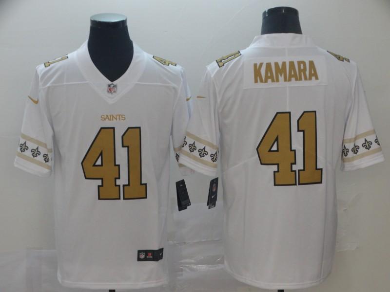 Nike Saints 41 Alvin Kamara White Team Logos Fashion Vapor Limited Jersey