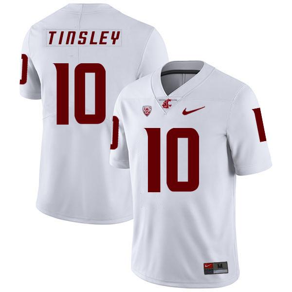 Washington State Cougars 10 Trey Tinsley White College Football Jersey