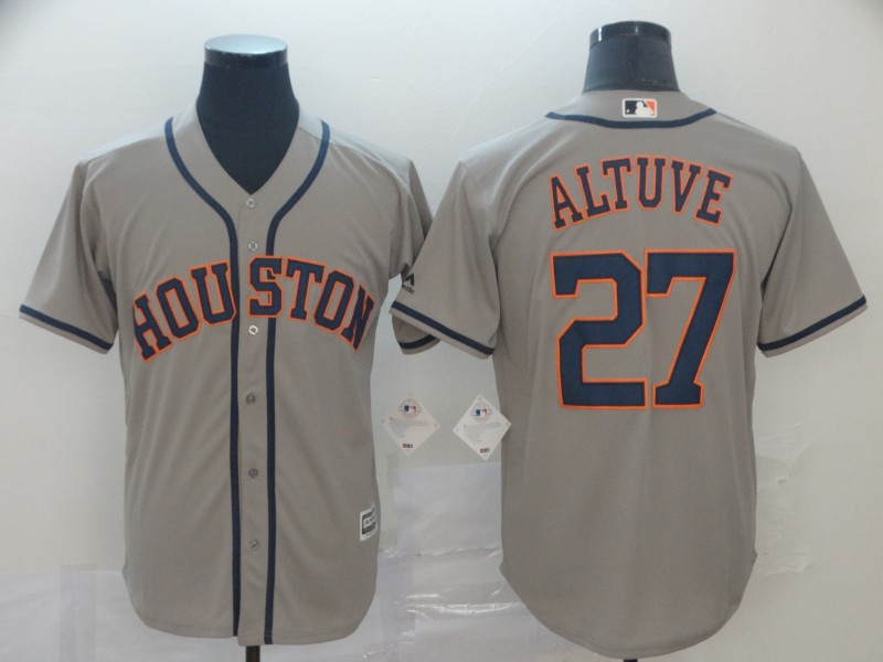Astros 27 Jose Altuve Gray Cool Base Jersey