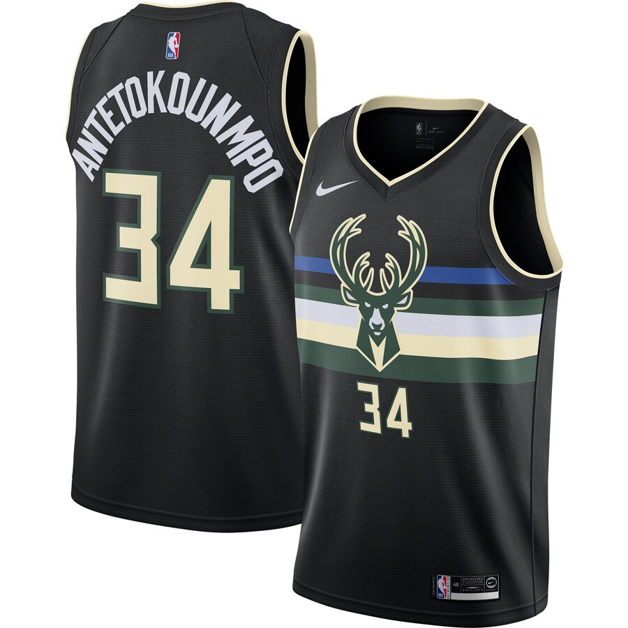 Bucks 34 Giannis Antetokounmpo Black Nike Swingman Jersey