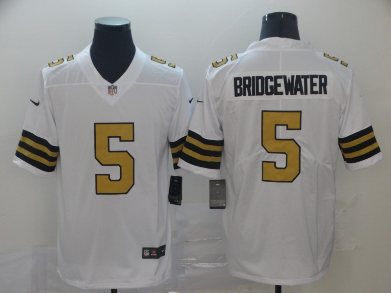 Nike Saints 5 Teddy Bridgewater White Color Rush Limited Jesey