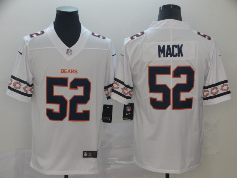 Nike Bears 52 Khalil Mack White Team Logos Fashion Vapor Limited Jersey