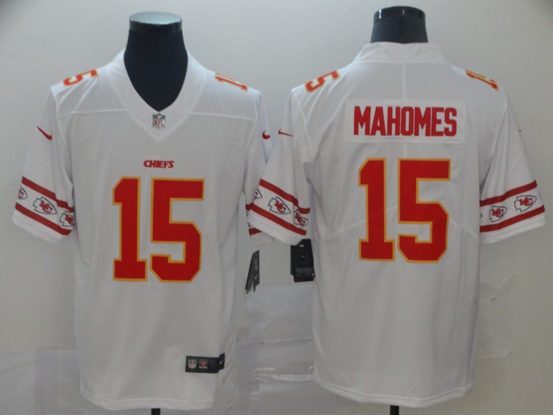 Nike Chiefs 15 Patrick Mahomes White Team Logos Fashion Vapor Limited Jersey