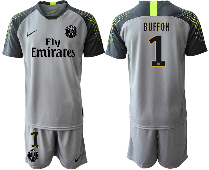 2019-20 Paris Saint-Germain 1 BUFFON Gray Goalkeeper Soccer Jersey