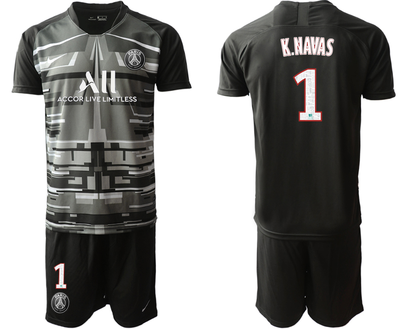 2019-20 Paris Saint-Germain 1 K.NAVAS Black Goalkeeper Soccer Jersey