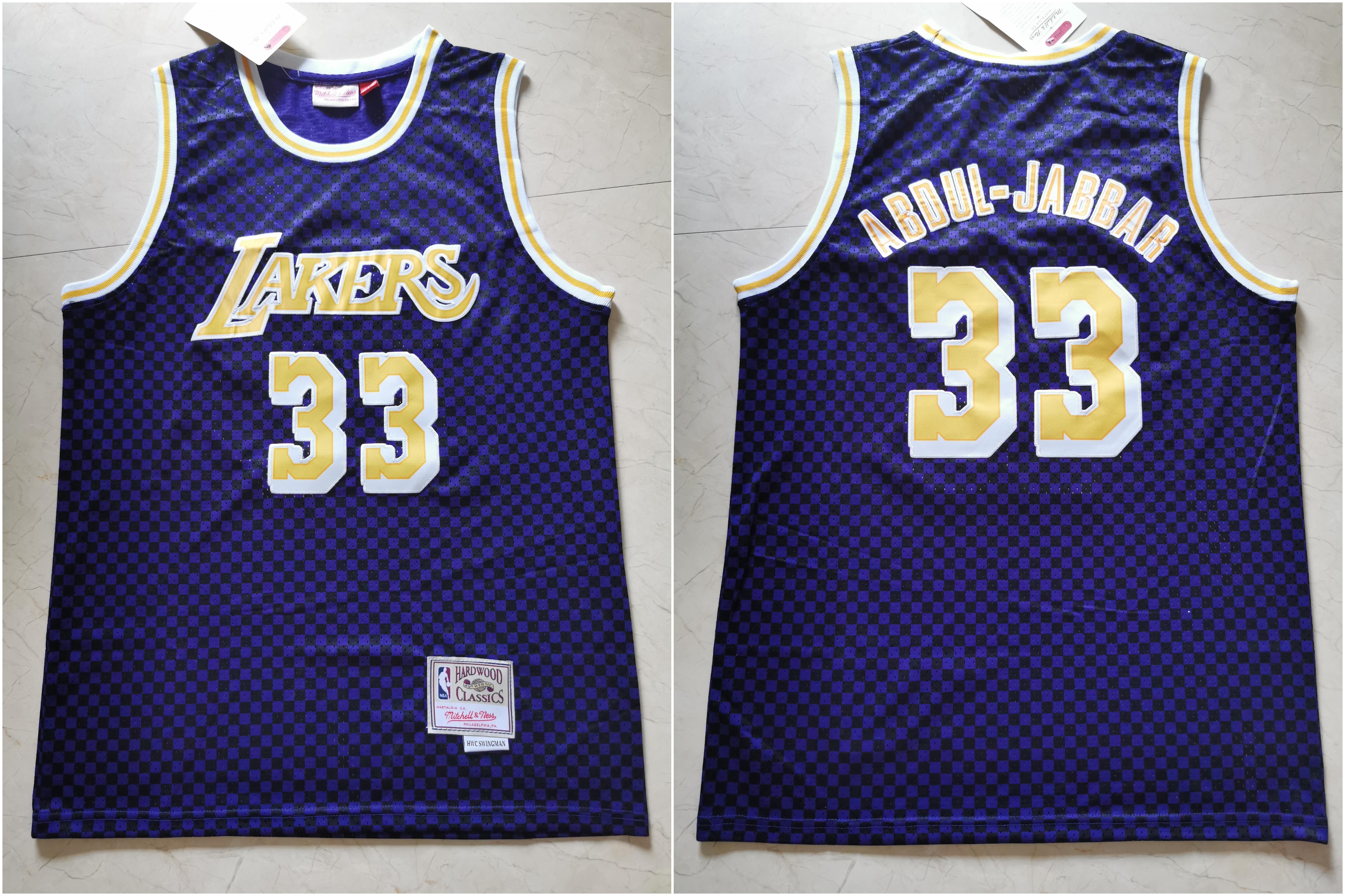 Lakers 33 Kareem Abdul-Jabbar Purple Hardwood Classics Jersey