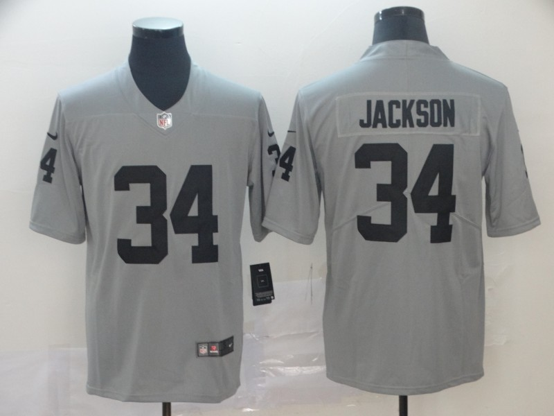 Nike Raiders 34 Bo Jackson Gray Inverted Legend Limited Jersey