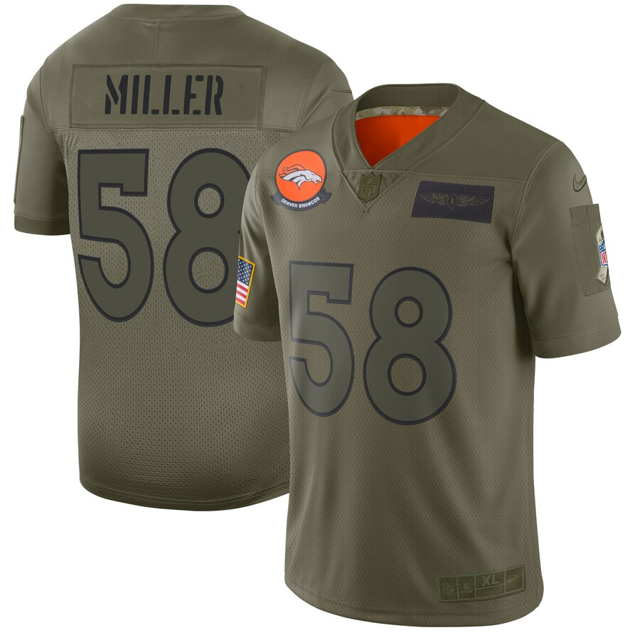 Nike Broncos 58 Von Miller 2019 Olive Salute To Service Limited Jersey
