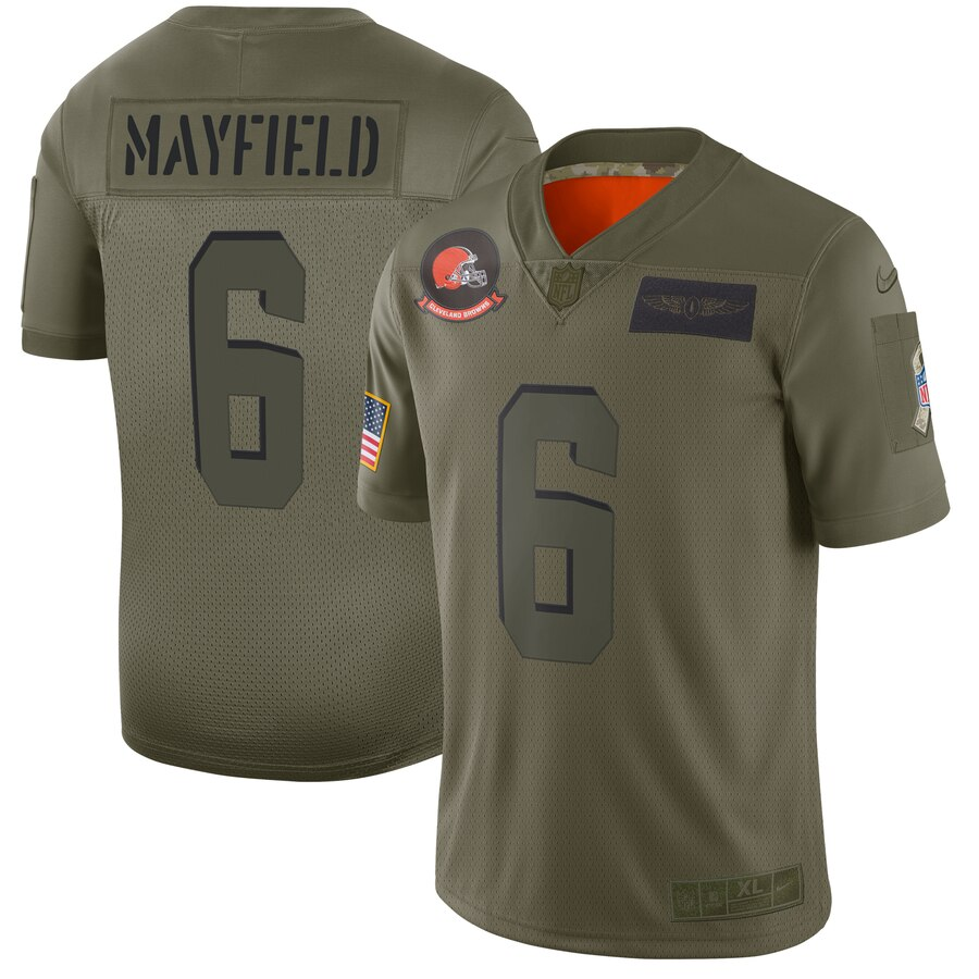 Nike Browns 6 Baker Mayfield 2019 Olive Salute To Service Limited Jersey