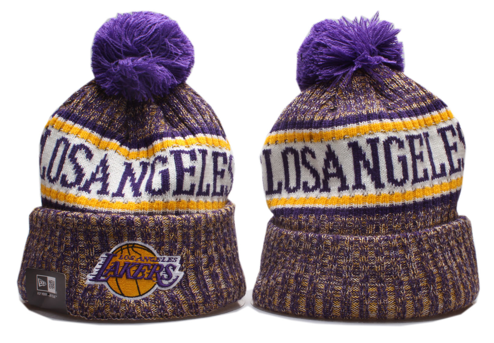 Lakers Team Logo Cuffed Pom Knit Hat YP
