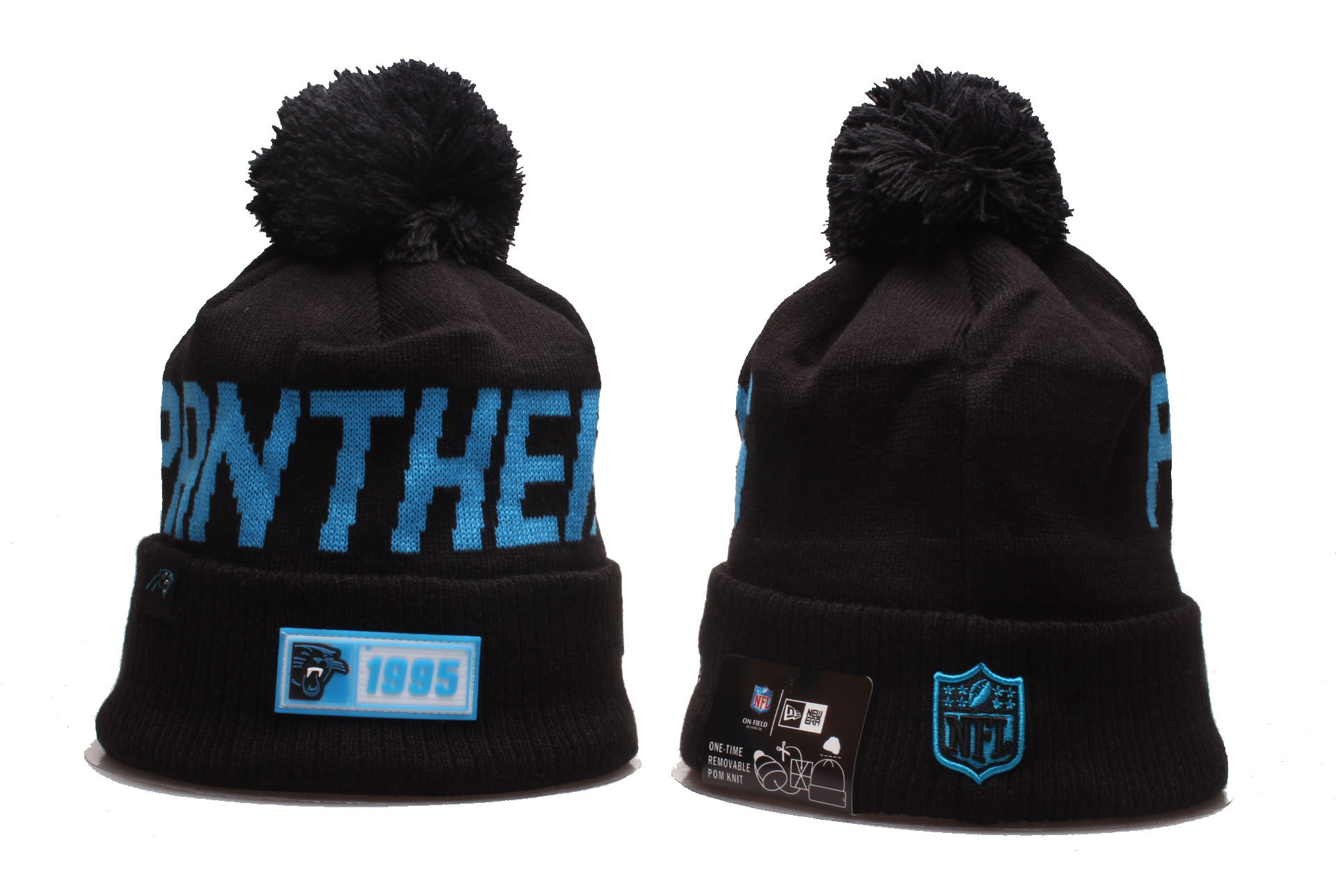 Panthers Team Logo Black Cuffed Pom Knit Hat YP