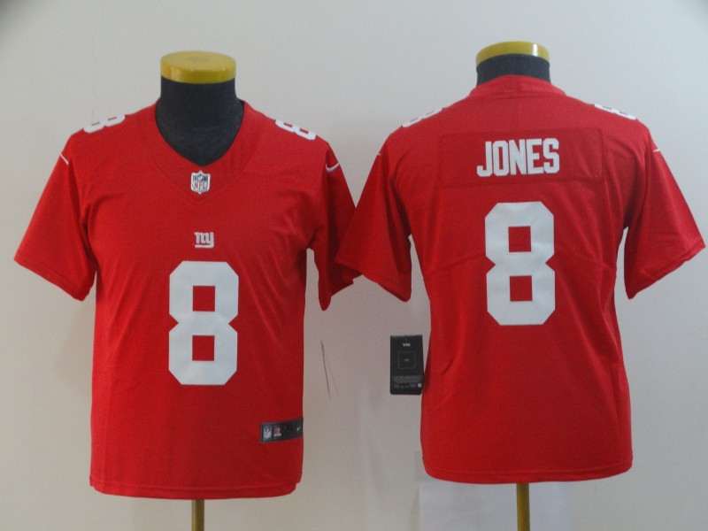 Nike Giants 8 Daniel Jones Red Youth Inverted Legend Limited Jersey