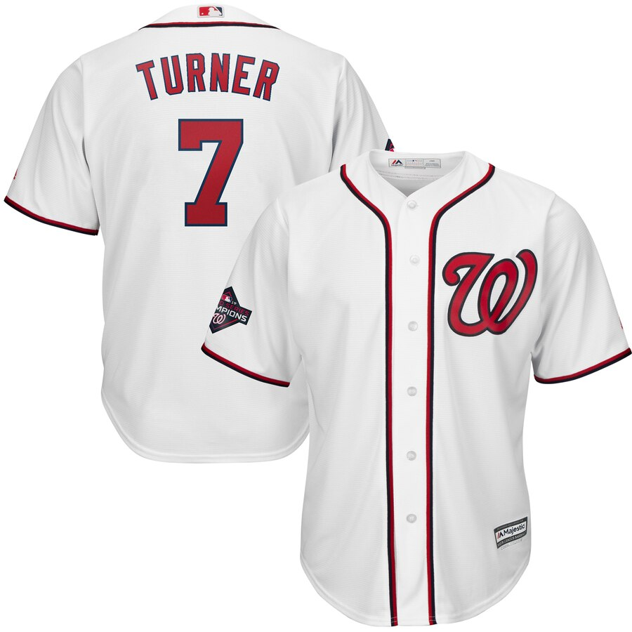 Nationals 7 Trea Turner White 2019 World Series Champions Cool Base Jersey
