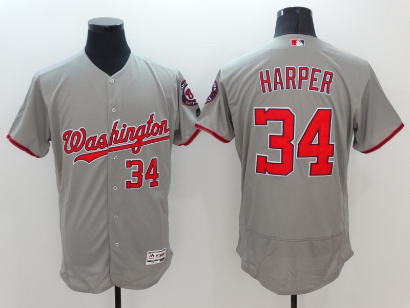 Nationals 34 Bryce Harper Gray Flexbase Jersey
