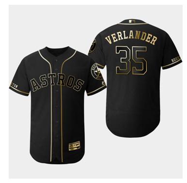 Astros 35 Justin Verlander Black Gold Flexbase Jersey