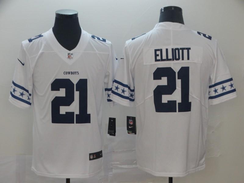 Nike Cowboys 21 Ezekiel Elliott White Team Logos Fashion Vapor Limited Jersey