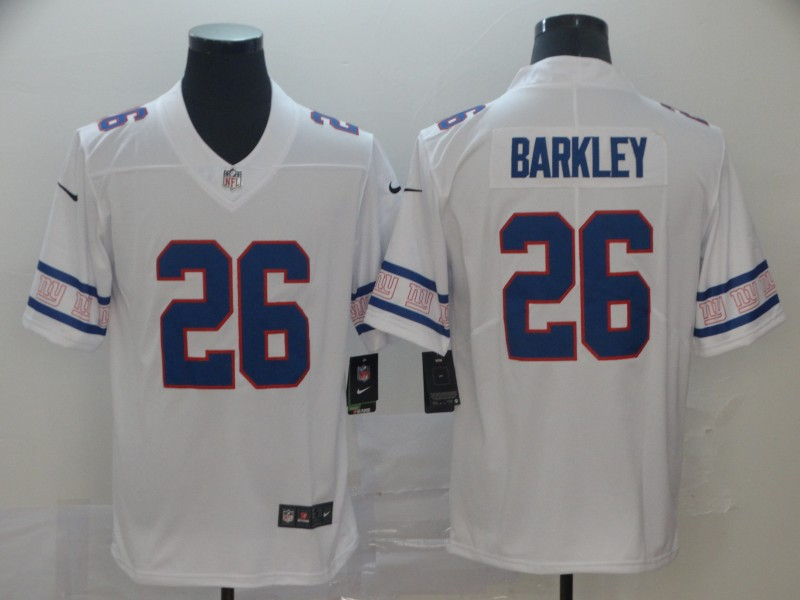 Nike Giants 26 Saquon Barkley White Team Logos Fashion Vapor Limited Jersey