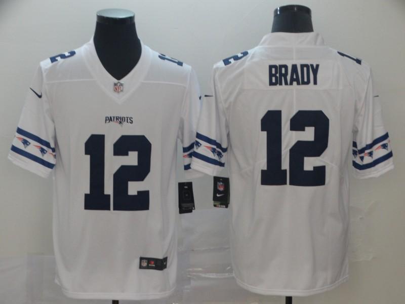 Nike Patriots 12 Tom Brady White Team Logos Fashion Vapor Limited Jersey