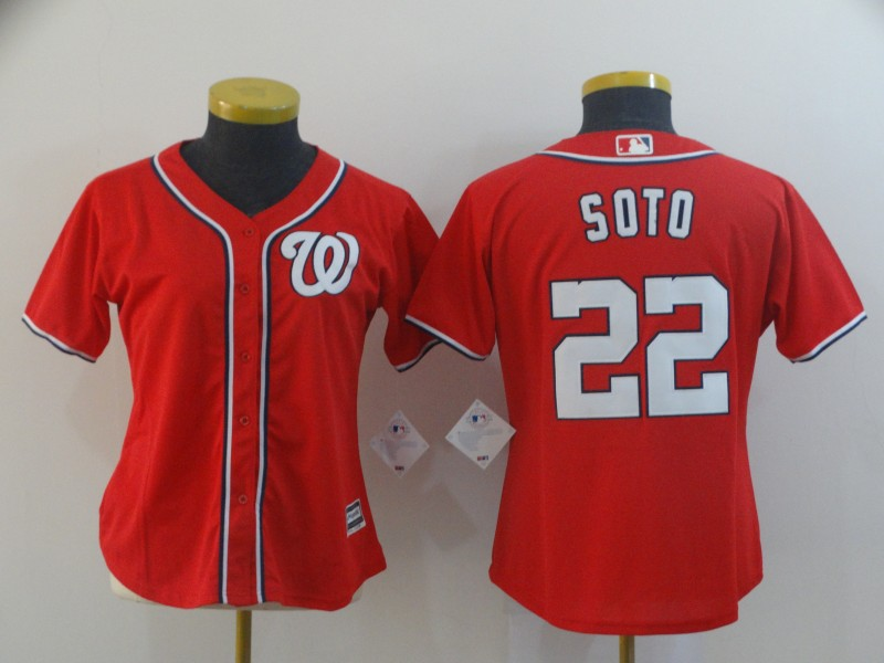 Nationals 22 Juan Soto Red Women Cool Base Jersey