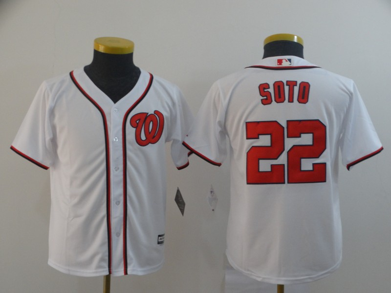 Nationals 22 Juan Soto White Youth Cool Base Jersey