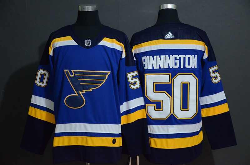 Blues 50 Jordan Binnington Blue Adidas Jersey